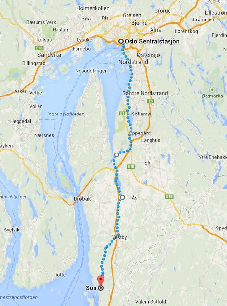 Oslo - Son - sykkelrute