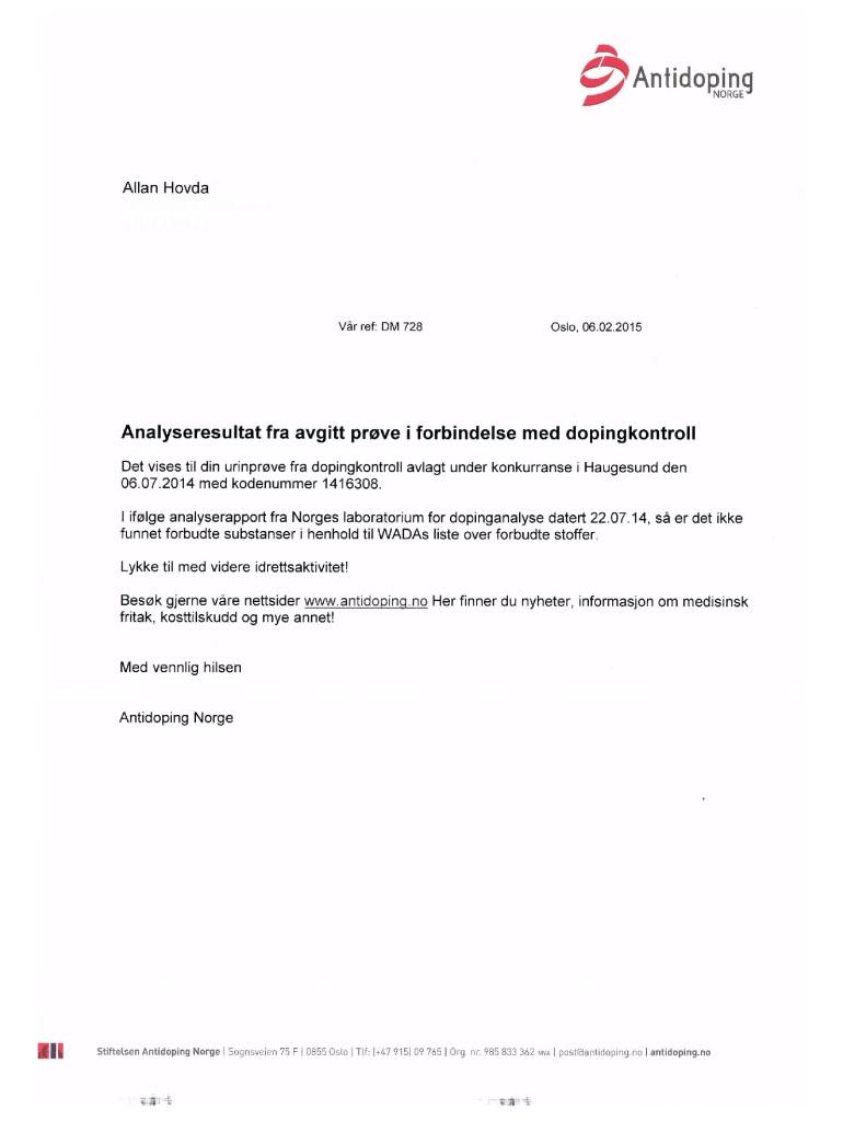 Triallan - Allan Hovda - Dopingprøve - resultat