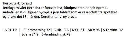 Triallan - Jernnivå - Blodprosent
