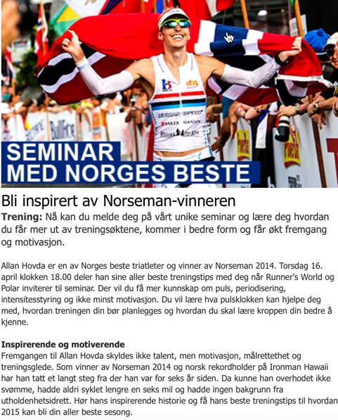 Triallan - Seminar - Polar - Runnersworld.no - Olympiatoppen