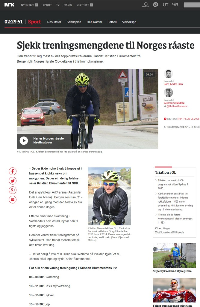 Treningsmengde Kristian Blummenfelt - NRK.no - Triallan